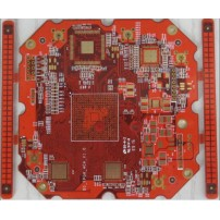 8 layers impedance PCB with red soldermask